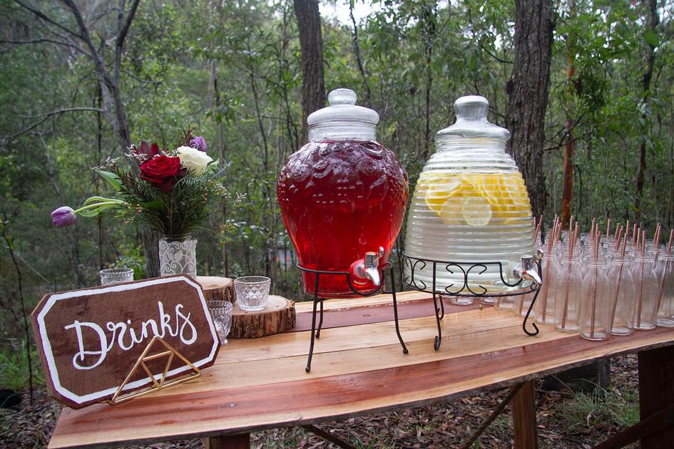 Bush Wedding Drinks Table