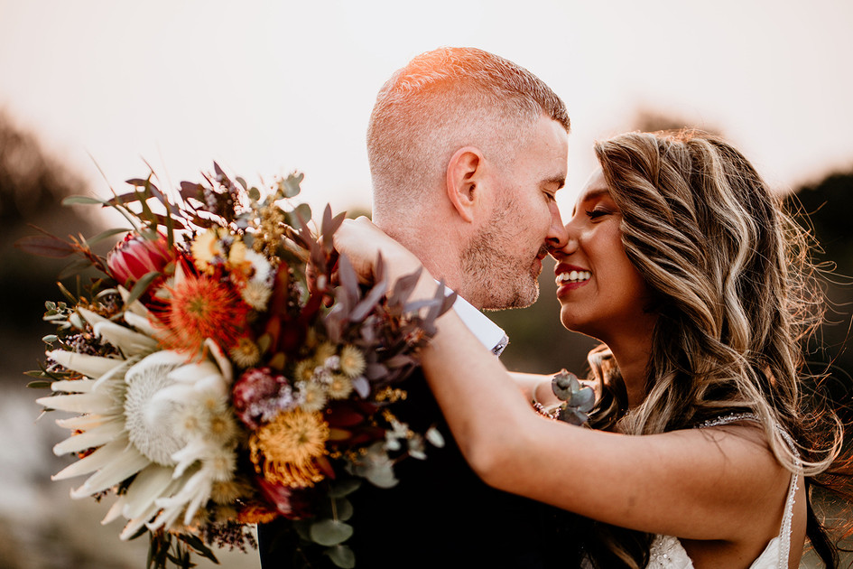 Evelyn & Andrew with Rustic Native Bridal Bouquet Belongil Beach