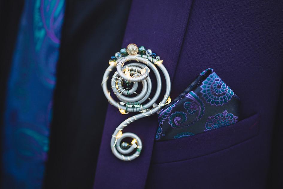 Alternative Wire & Gemstone Custom Groom's Buttonhole With Fairy Lights