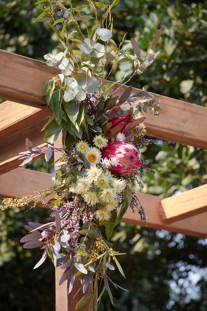 Rustic Native Arbour Flowers Wedding Belongil Beach