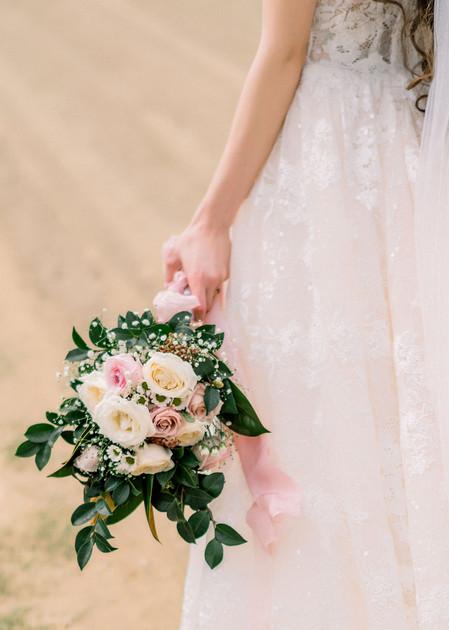White & Pink Rose Bridal Bouquet