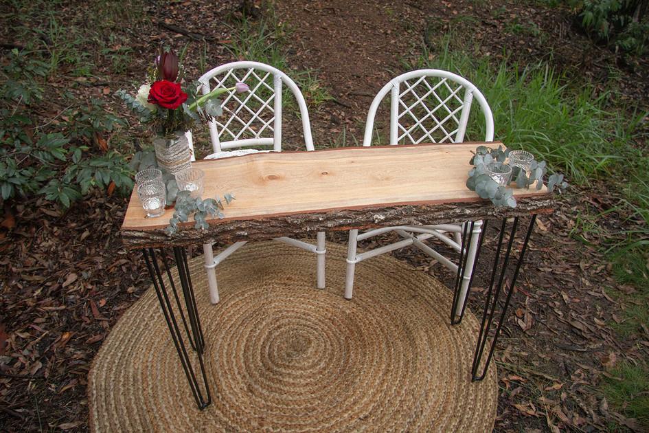 Bush Wedding Handmade Rustic Signing Table with Welded Metal Legs