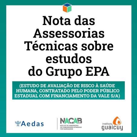 Nota das Assessorias Técnicas sobre estudos do Grupo EPA