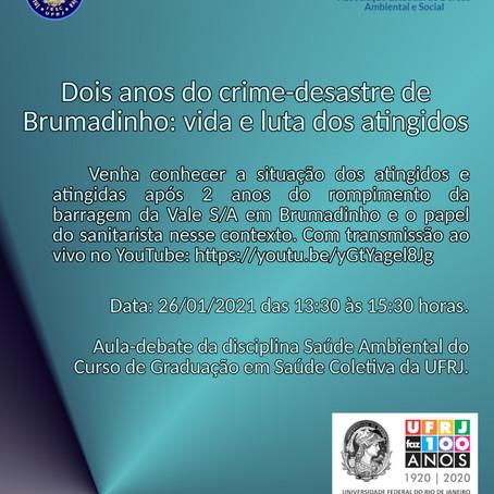 Graduação em Saúde Coletiva/UFRJ organiza roda de conversa sobre 2 anos do rompimento em Brumadinho