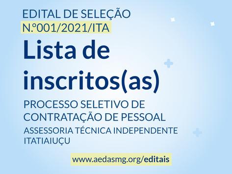 EDITAL Nº 001/2021/ITA - LISTA DE INSCRITOS(AS)