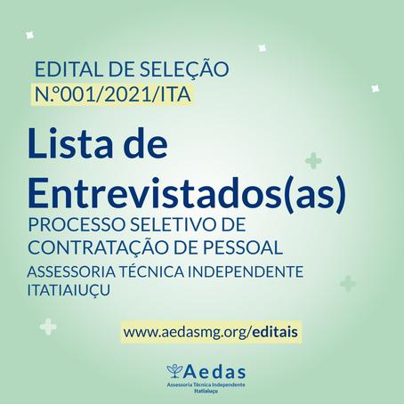 LISTA DE CANDIDATOS(AS) SELECIONADOS(AS) PARA ETAPA DA ENTREVISTA - EDITAL Nº 001/2021/ITA