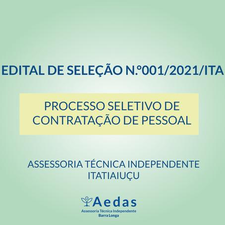 EDITAL N.°001/2021/ITA    - PROCESSO SELETIVO DE CONTRATAÇÃO DE PESSOAL
