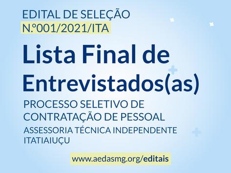 LISTA FINAL DE CANDIDATOS(AS) SELECIONADOS(AS) PARA ETAPA DA ENTREVISTA - EDITAL Nº 001/2021/ITA