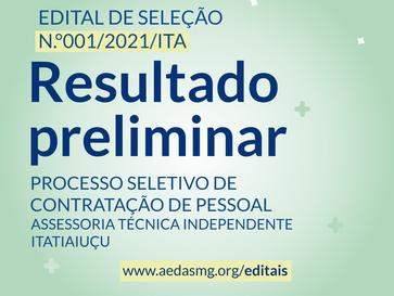 RESULTADO PRELIMINAR - EDITAL Nº 001/2021/ITA