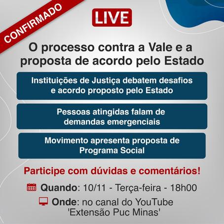 Live pública nesta terça (10) discutirá acordo judicial que envolve atingidos pelo crime da Vale