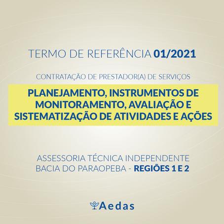 TR 01/2021: CONTRATAÇÃO DE PRESTADOR/A DE SERVIÇOS PARA PLANEJAMENTO NA R1 E R2