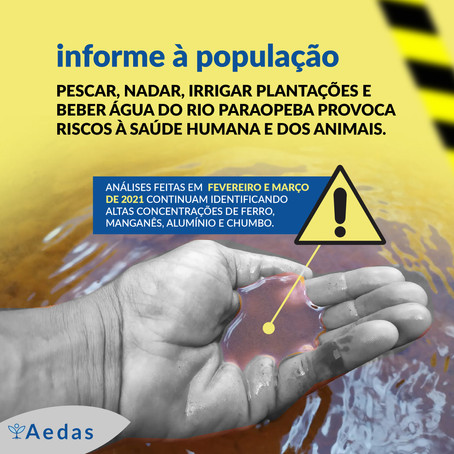 Informe: os riscos permanecem na água do Rio Paraopeba