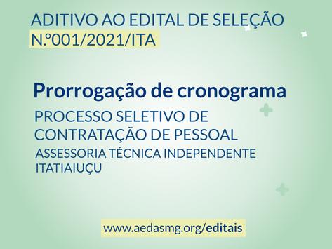 PRORROGAÇÃO CRONOGRAMA: EDITAL N.°001/2021/ITA - PROCESSO SELETIVO DE CONTRATAÇÃO DE PESSOAL