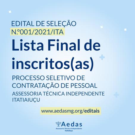 LISTA FINAL DE INSCRITOS(AS) - EDITAL Nº 001/2021/ITA