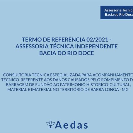 RESULTADO: TERMO DE REFERÊNCIA 02/2021 - ASSESSORIA TÉCNICA INDEPENDENTE BACIA DO RIO DOCE