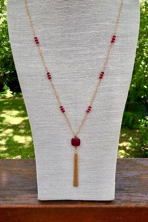 Ruby Tassel Necklace