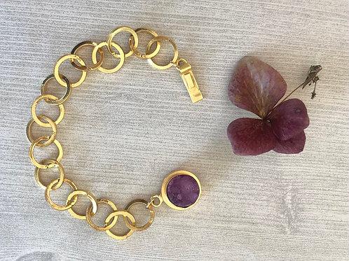 Gold Chain and Plum Druzy Bracelet