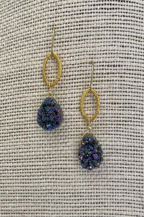 Shades of Blue Druzy Earrings