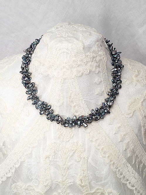Slate Blue Freshwater Pearl Necklace