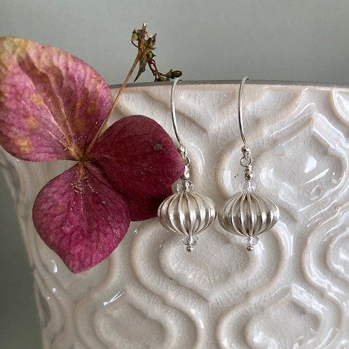 Corrugated Silver Drop Earrings