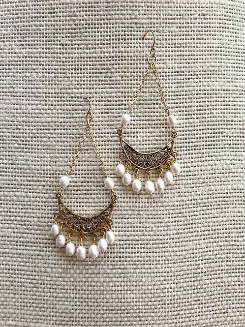 Pearl Drop and Chain Earrings