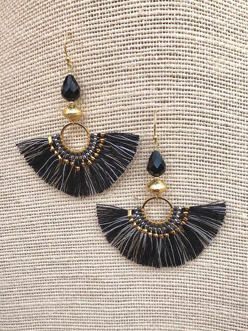 Black and Gold Fan Earrings