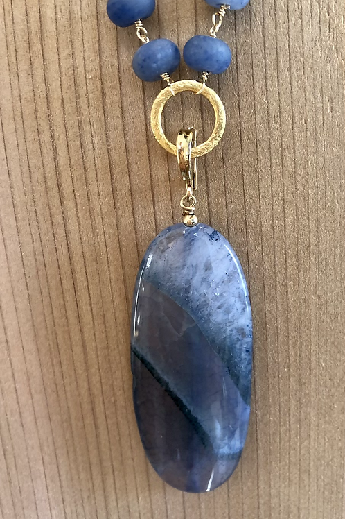 Blue Advenurine and Agate Necklace