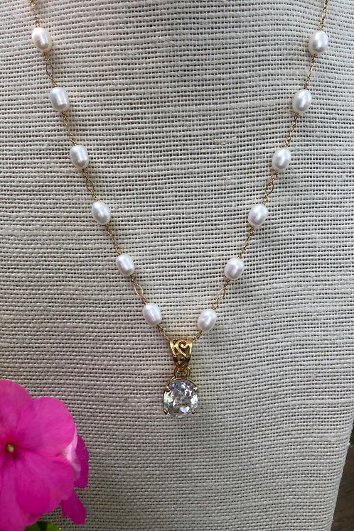 Freshwater Pearl and Crystal Quartz Pendant Necklace