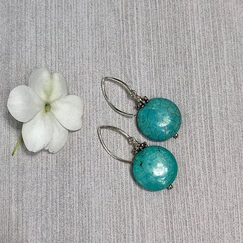 Turquoise Coins and Sterling Silver Earrings