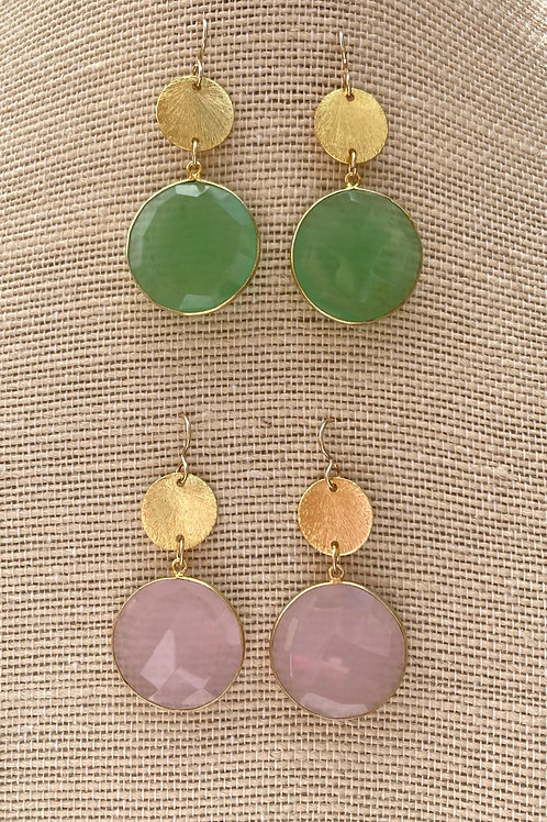 Quartz Coin Drop Earrings