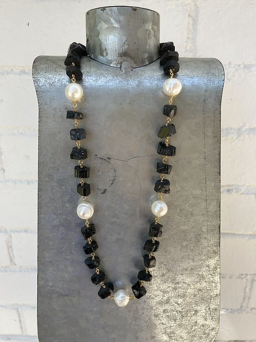 Black Tourmaline and Pearl Necklace