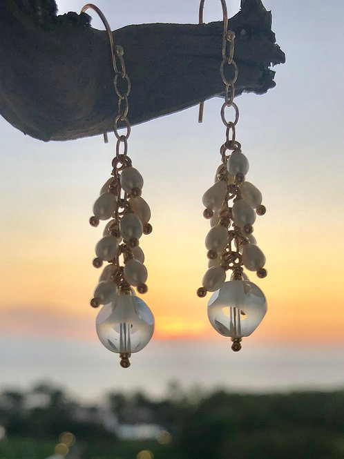 Cascading Pearl and Crystal Earrings