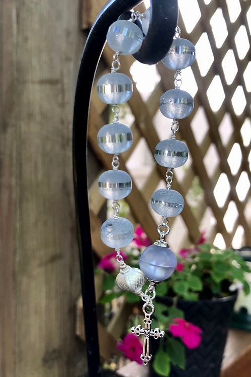 Etched Glass Rosary Bracelet