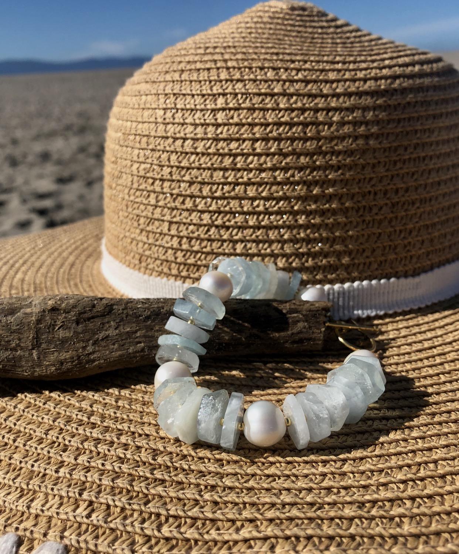 Aquamarine Disc Bracelet