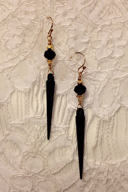 Black Daggers With a Crystal Accent Bead