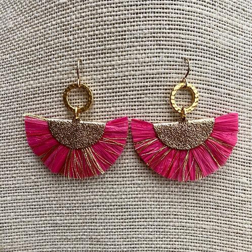 Hot Pink Raffia Earrings