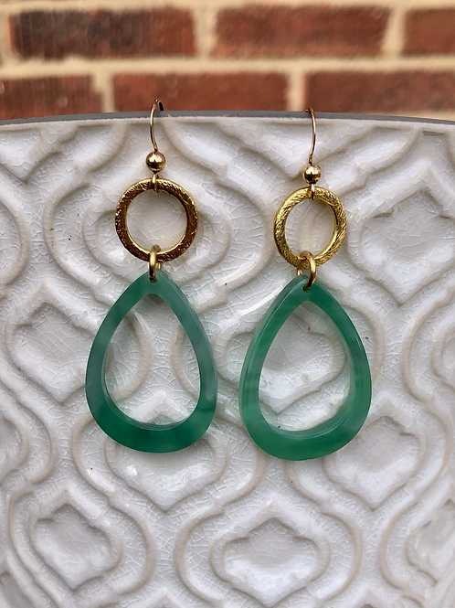 Green Open Drop Earrings