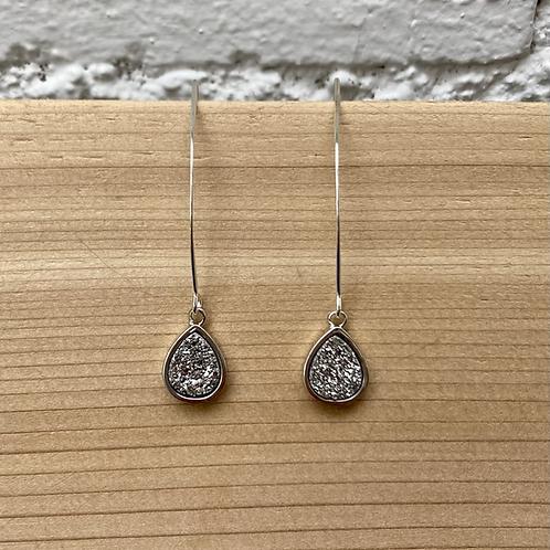 Silver Druzy Drop Earrings