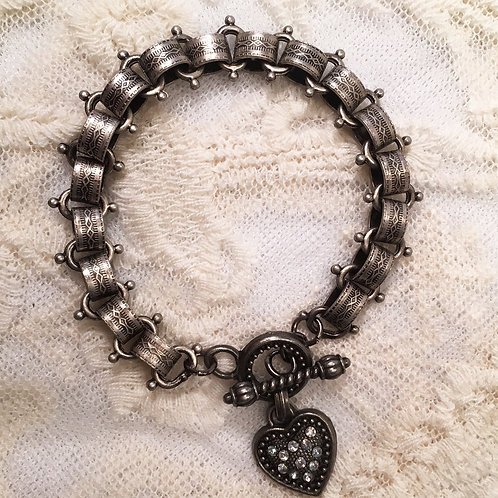 Gunmetal Crystal Accented Heart Charm Bracelet