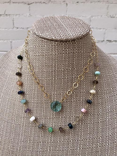 Layered Aqua Quartz and/or Gemstone Rondell Necklaces