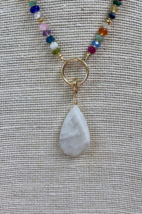 Moonstone Pendant and Gemstone Necklace