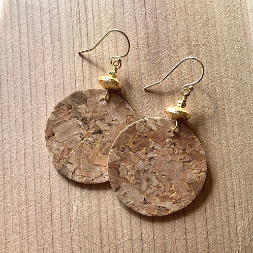 Gold and Cork Disc Earrings