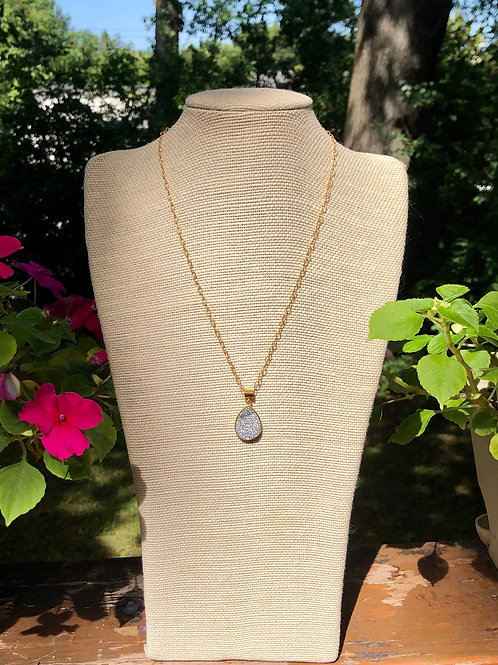 Silver Druzy and Gold Necklace