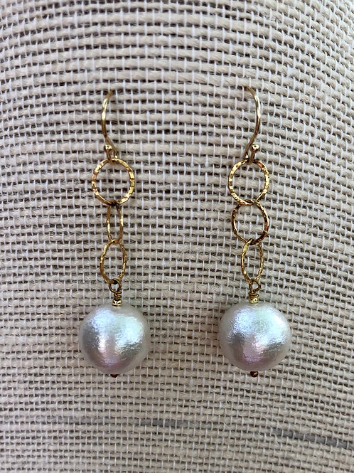 Cotton Pearl Chain Earrings