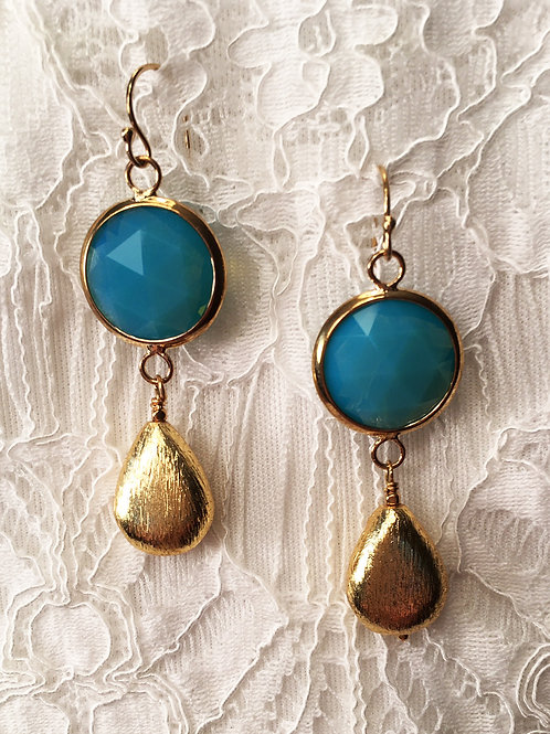 Faceted Turquoise Glass +Gold Drop Earrings