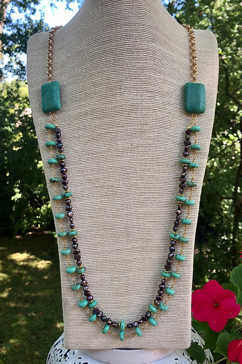 Green Turquoise and Bronze Pearl Necklace