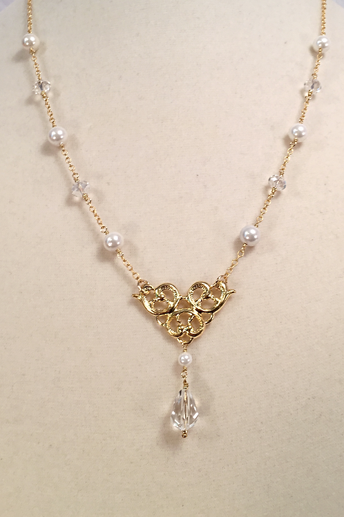Crystal Drop Gold and Pearl Necklace