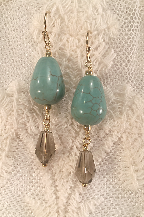 Green Turquoise and Smoky Quartz Earrings