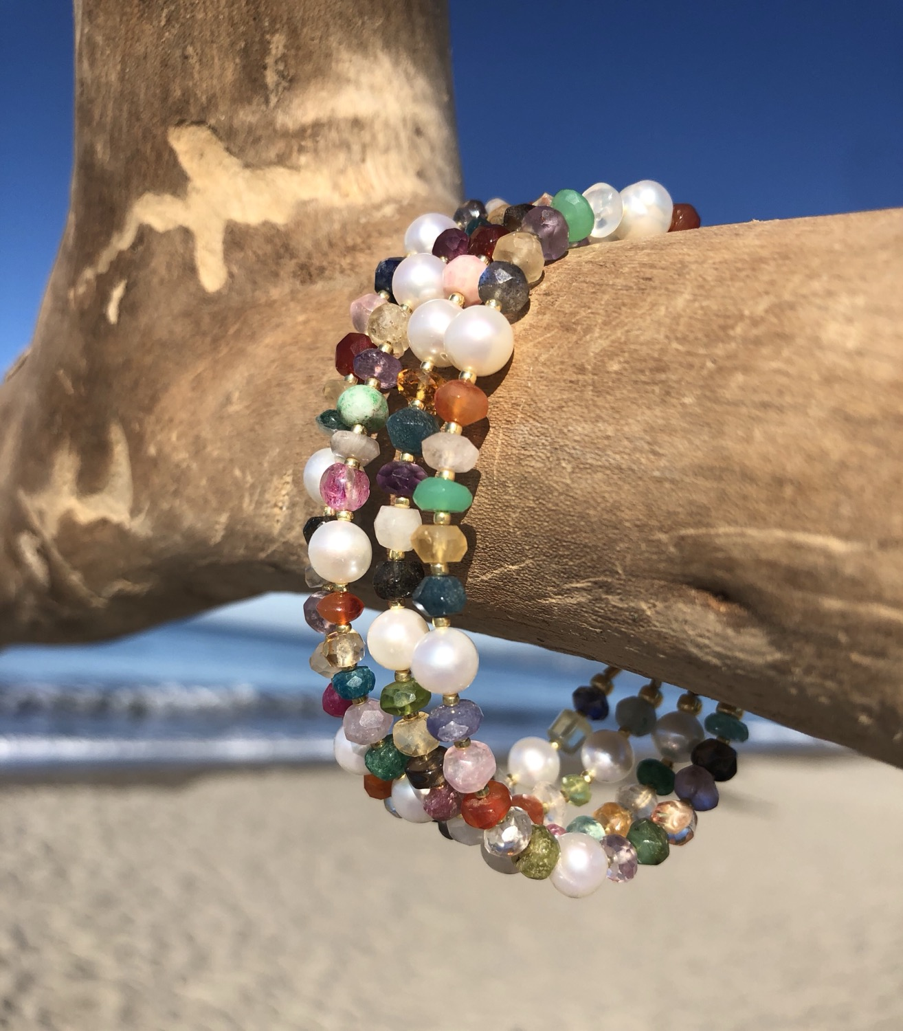 Mixed Gemstones and Pearl Bracelet
