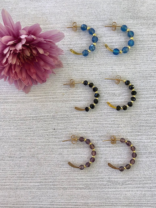 Petite Gemstone Hoop Earrings